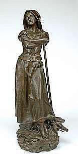 GODET, HENRI, 1863-1937 'Glaneuse'. Brunpatinerad