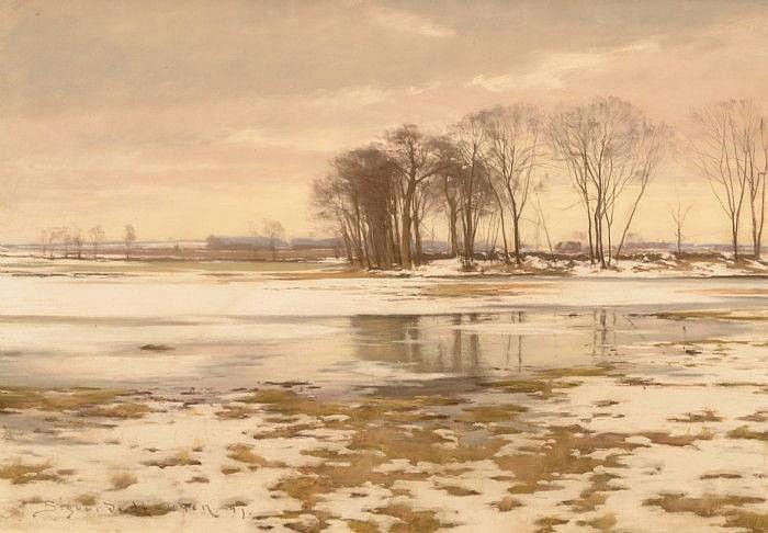 HANSEN, SIGVARD, 1859-1938 Vårvinterlandskap.