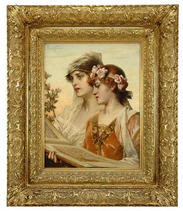 KIESEL, CONRAD, 1846-1921 Sjungande flickor.