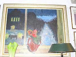 Arne Aspelin, olja, fönsterutsikt, 80X95.