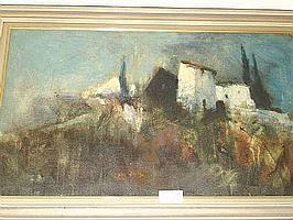 Arne Aspelin, olja, 'Villa'. 58x98