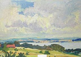Figge Holmgren, olja, landskap, 49X69.