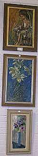 Oljemålningar, bl.a Knut Norman och Hans Ripa, 6