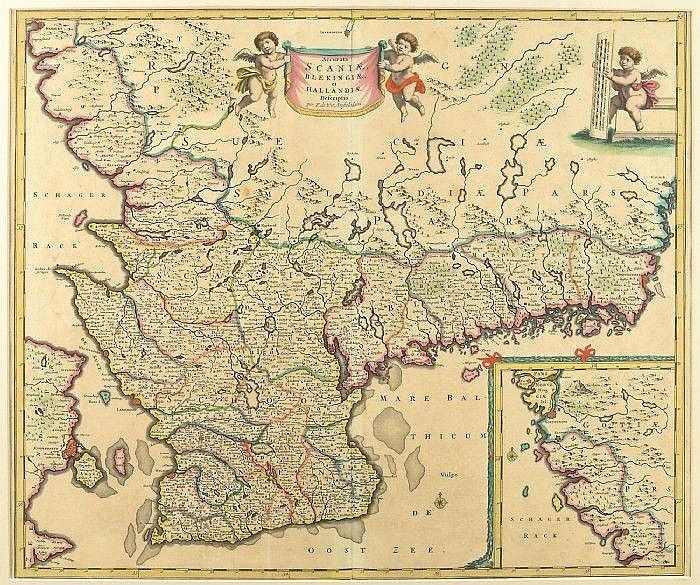 Karta Over Skane Blekinge Och Halland Accurata