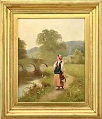 ROSE DOUGLAS, 1893-1898 Kvinna på stig utmed flod.
