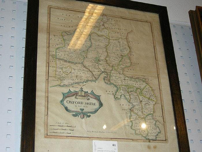 Karta över Oxforshire, 1700-tal, Robert Morden.