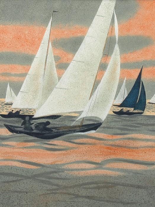GANNE, YVES, född 1931 'Regatta'. Blandteknik.