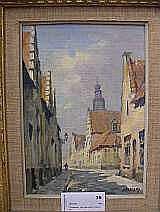 F Eyskens, olja gatuparti, 28x19 cm