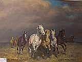 Janos Viski, olja hästar på Pustan, 60x79 cm