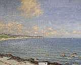 Bror Ljunggren, olja, kustparti med segelbåtar,
