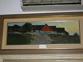 Arne Aspelin, olja, landskap, med hus, 24X72cm.
