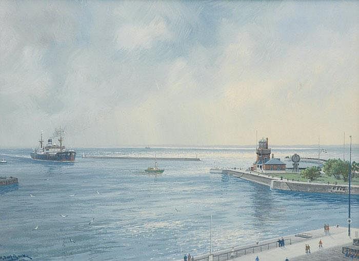 BOCK, ADOLF, 1890-1968 Båtar på väg in i