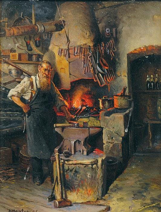 MONTAN, ANDERS, 1845-1917 Smed med ässja. Signerad
