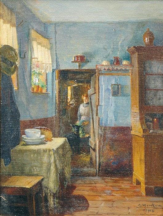 MONTAN, ANDERS, 1845-1917 Interiör med kvinna och