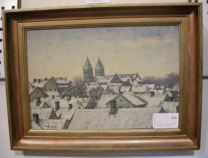 Bror Ljunggren, olja, snötäckta lundatak, 1929,