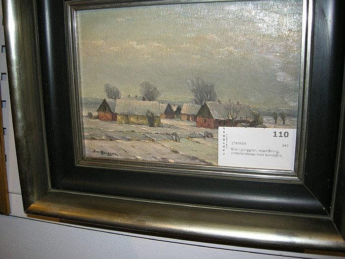 Bror Ljunggren, olja, vinterlandskap m. bondgård,