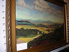 Figge Holmgren, olja, landskap, 32X52 cm.