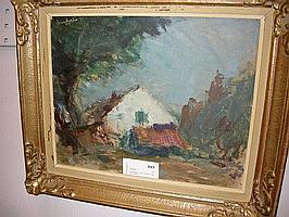 Arne Aspelin, olja, landskap med hus, 33X40