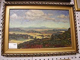 Figge Holmgren, olja, skånskt landskap, 33X50.