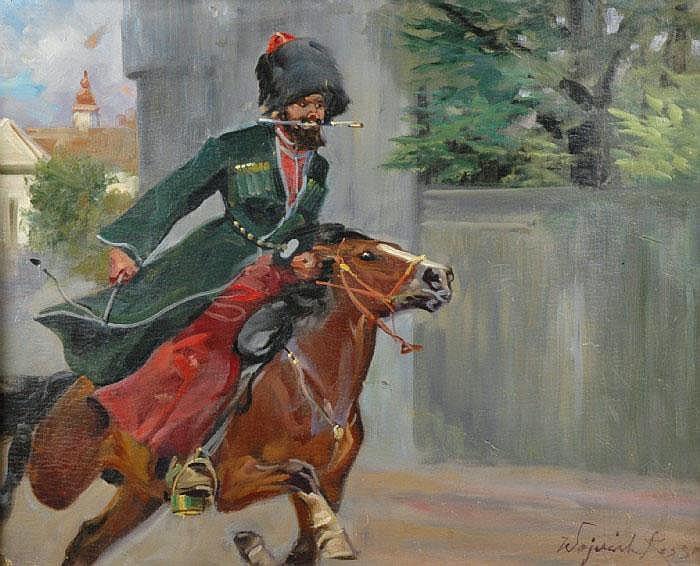 KOSSAK, WOICIECH von, 1857-1942 Ridande kosack.