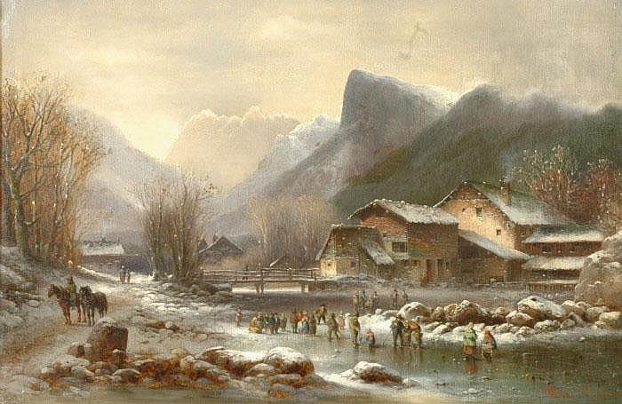 DOLL, ANTON, 1826-1887 Vinterlandskap med