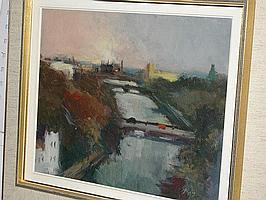 Arne Aspelin, oljemålning, stadsparti med bro.