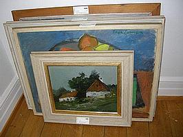 Oljemålningar, 4 st. bl.a Arne Aspelin och Helge