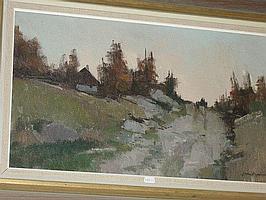 Arne Aspelin, olja, landskap med hus, 38X62.