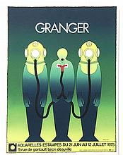 GRANGER  ( 20th C.  ) small collection of 4 screenprint posters, including one on silver mylar,