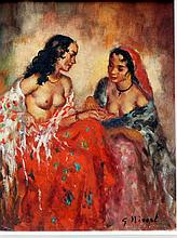 NIVERT, GEORGETTE ( Fr. 20th C. )(Two Bare Breasted Women)