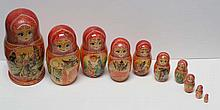 MATRYOSHKA NESTING DOLLS  ( Russian 20th Century  )Nesting Dolls, set of 10, possibly the fable