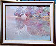 MOMINK (?)  (  American 20th C.  )(Impressionist Lake Scene, probably California)