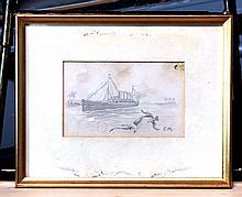 MUMMERT,  CARL  ( (German  1879-1964)  )(drawing of cruise ship)