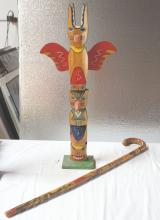 PACIFIC NORTHWEST OR ALASKAN NATIVE TOTEM AND WALKING CANE  (    )two items, possible related