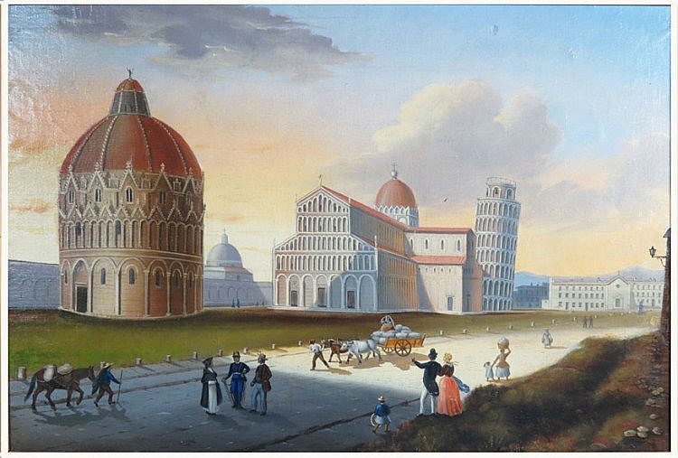 ITALIAN SCHOOL, 19th c. view of the Tower of Pisa