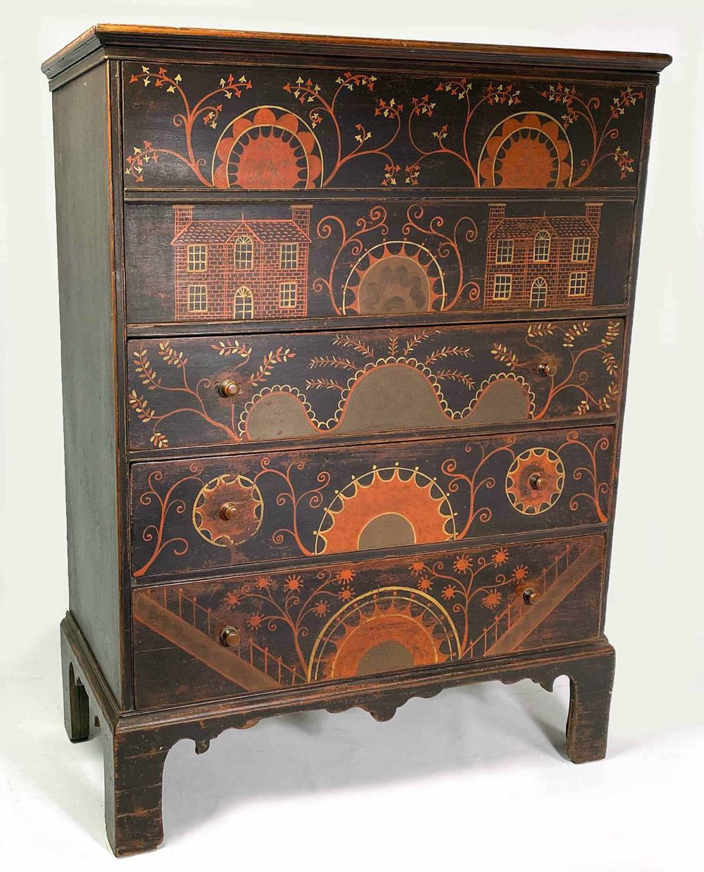 18TH C. NEW ENGLAND PAINTED BLANKET CHEST