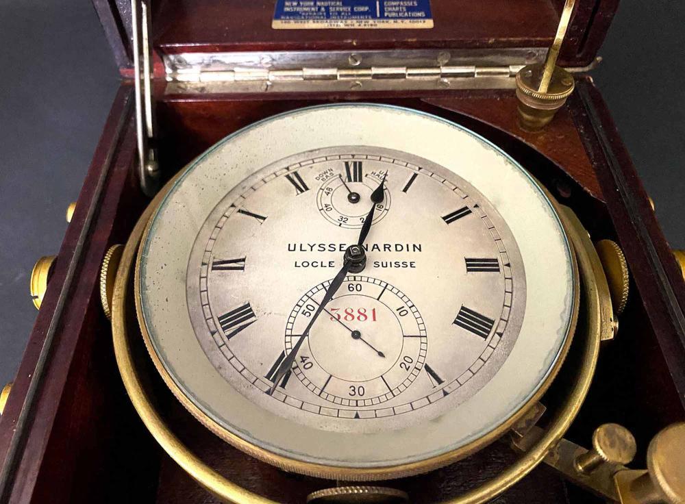 BOXED WWII CHRONOMETER, ULYSSE NARDIN 5881