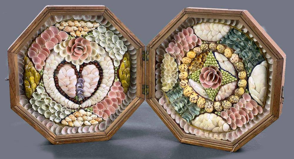 19TH C. SAILOR'S DOUBLE SHELL VALENTINE