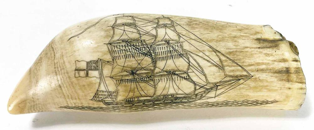 SCRIMSHAW WHALE'S TOOTH, SHIP