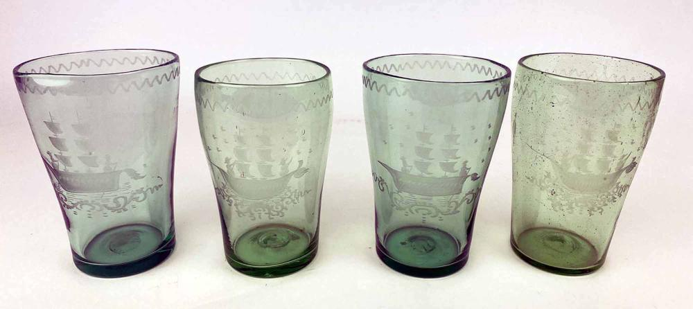 SET OF (4) ANTIQUE GREEN FLIP GLASS TUMBLERS