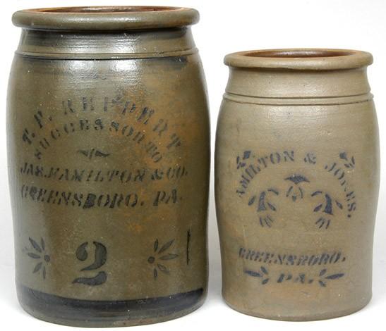 Two Greensboro, PA, Cobalt-Stenciled Stoneware Crocks, circa 1875, a