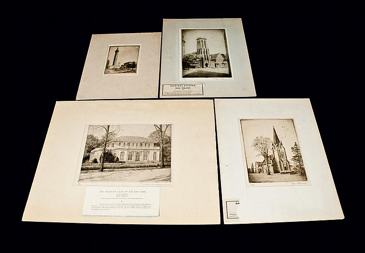 Lot of 4: 3 Don Swann Etchings and 1 Dano Jackley Etching