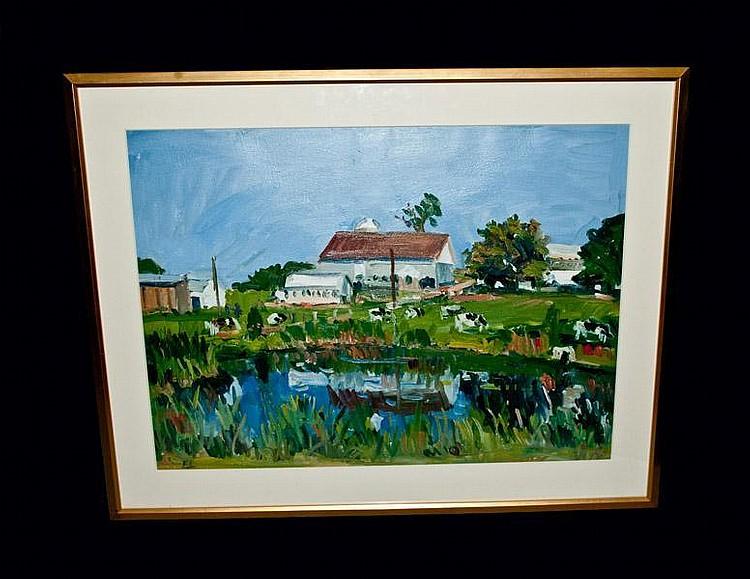 Eugene Leake (1911-2005) Farm Landscape Oil on Paper