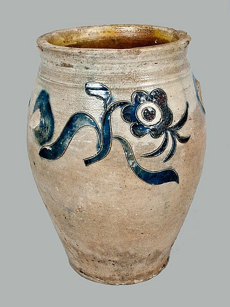 Rare J. REMMEY / MANHATTAN WELLS, NY Stoneware Crock w/ Elaborate Incised Floral Decoration
