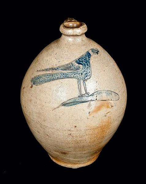 Important Ovoid New York City Stoneware Jug with Elaborate Incised Bird Decoration, c1800