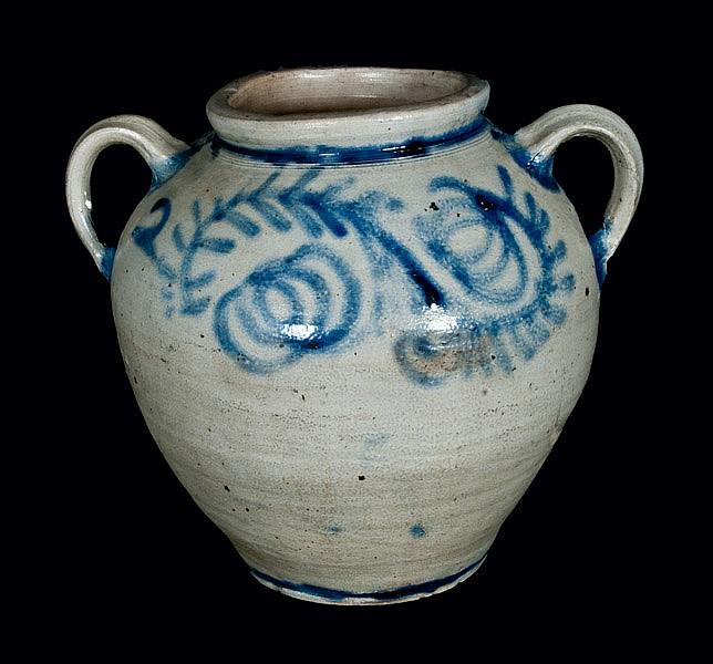 Extremely Rare and Important c1750 Stoneware Jar, Kemple Pottery, Ringoes, NJ