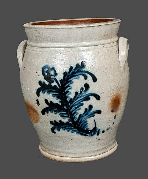 1 Gal. New Jersey Stoneware Crock with Slip-Trailed Decoration