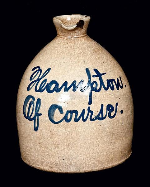 Very Rare New Jersey Stoneware Script Jug Inscribed Hampton Of Course