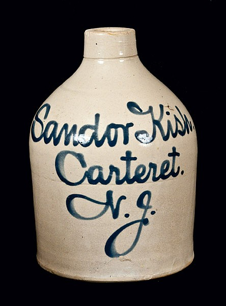 Rare Carteret, NJ Stoneware Script Jug Advertising a Hungarian Merchant