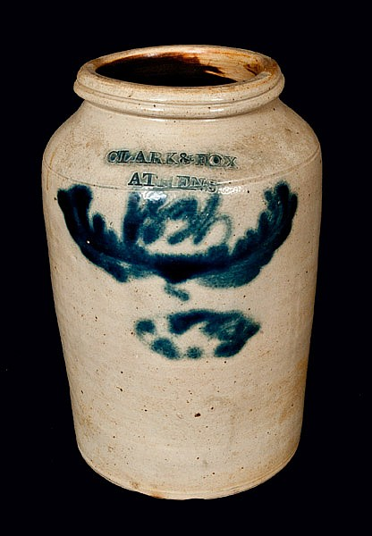 CLARK & FOX / ATHENS Stoneware Crock with 1834 Date
